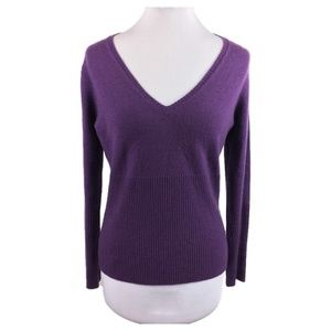 House of Cashmere Sz L Dark purple v-neck sweater